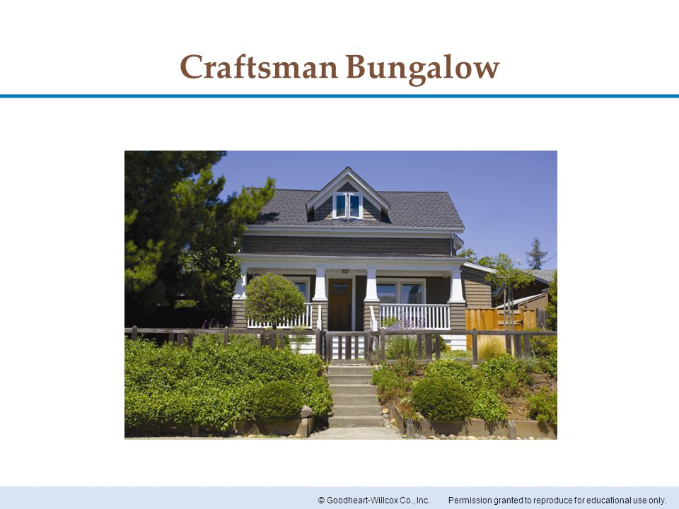 Permission granted to reproduce for educational use only.© Goodheart-Willcox Co., Inc. Craftsman Bungalow