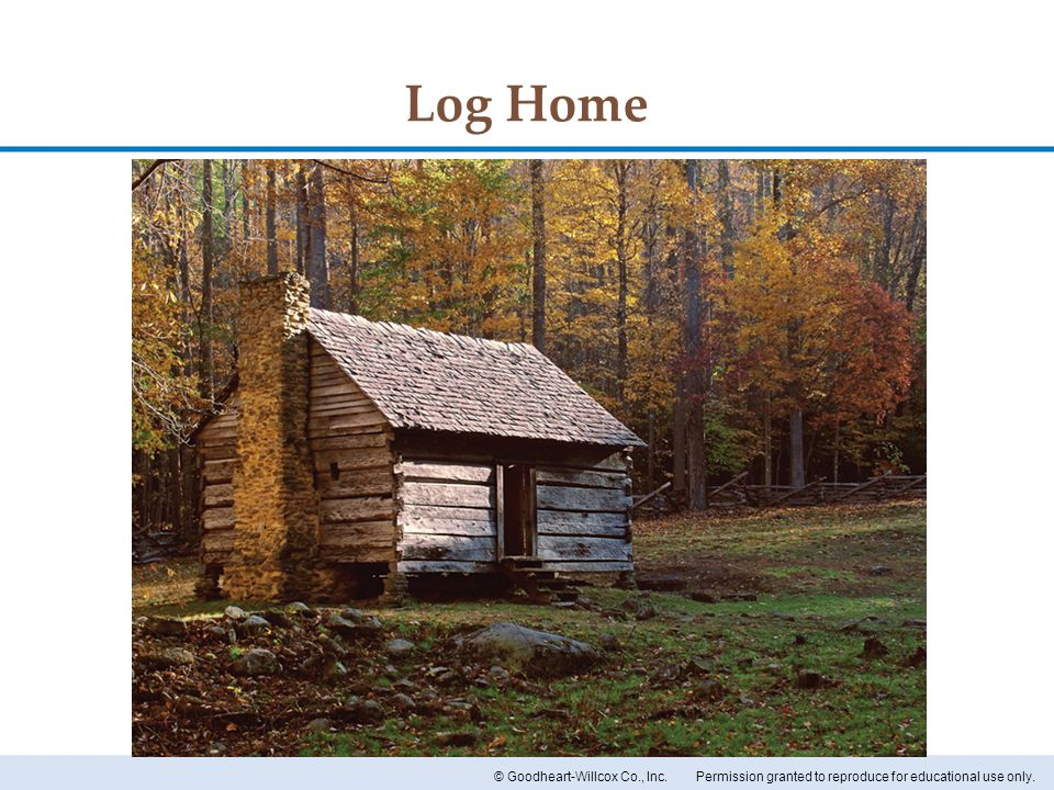 Permission granted to reproduce for educational use only.© Goodheart-Willcox Co., Inc. Log Home