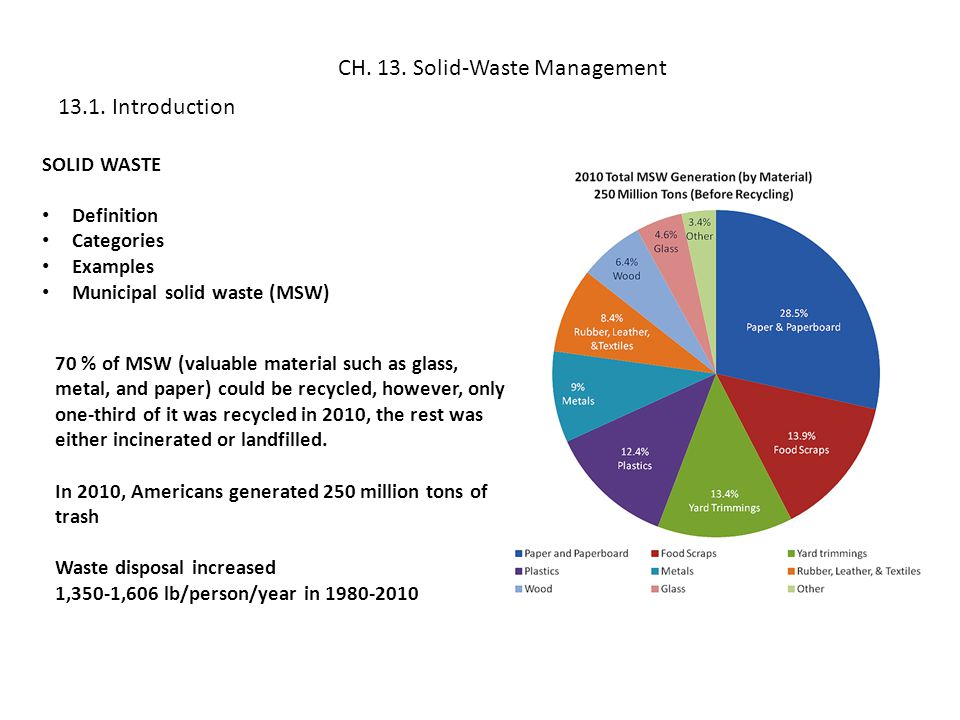 In the USA, the total amount of municipal solid waste generated increased from 88 million of tons in 1960 (2.6 pounds/person/day) to 250 million of tons in 2010 (4.4 pounds/person/day), however you can observe in the chart above, that in 2005, the generation of waste per capita, and thus the total amount of waste generated per year, leveled off.