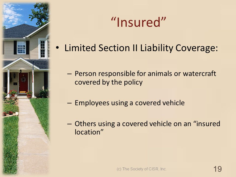 Insured Limited Section II Liability Coverage: – Person responsible for animals or watercraft covered by the policy – Employees using a covered vehicl