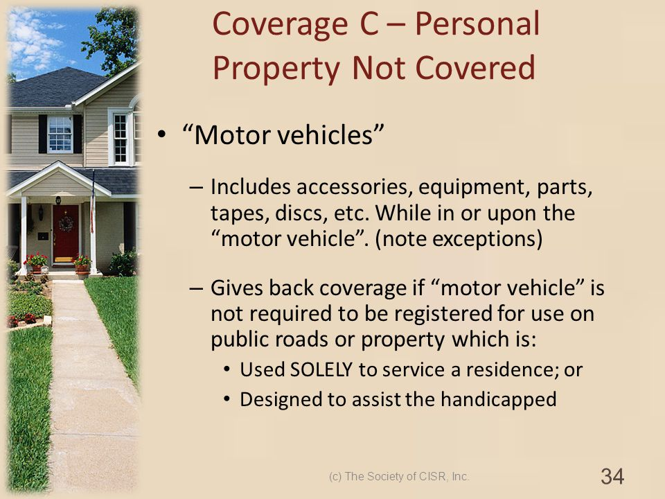 Motor vehicles – Includes accessories, equipment, parts, tapes, discs, etc. While in or upon the motor vehicle. (note exceptions) – Gives back coverag