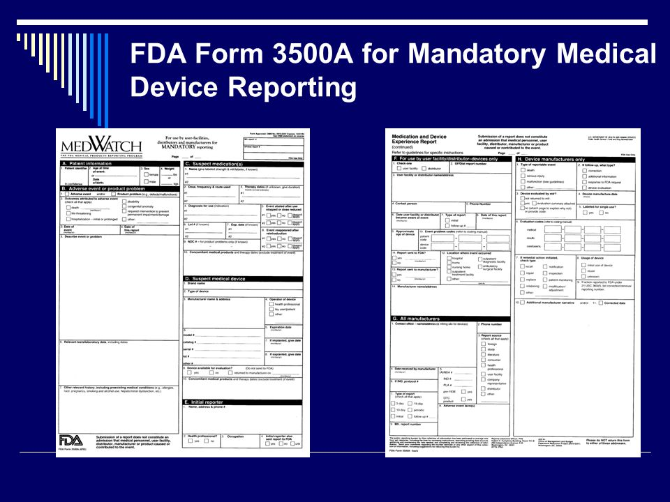 FDA Form 3500A for Mandatory Medical Device Reporting