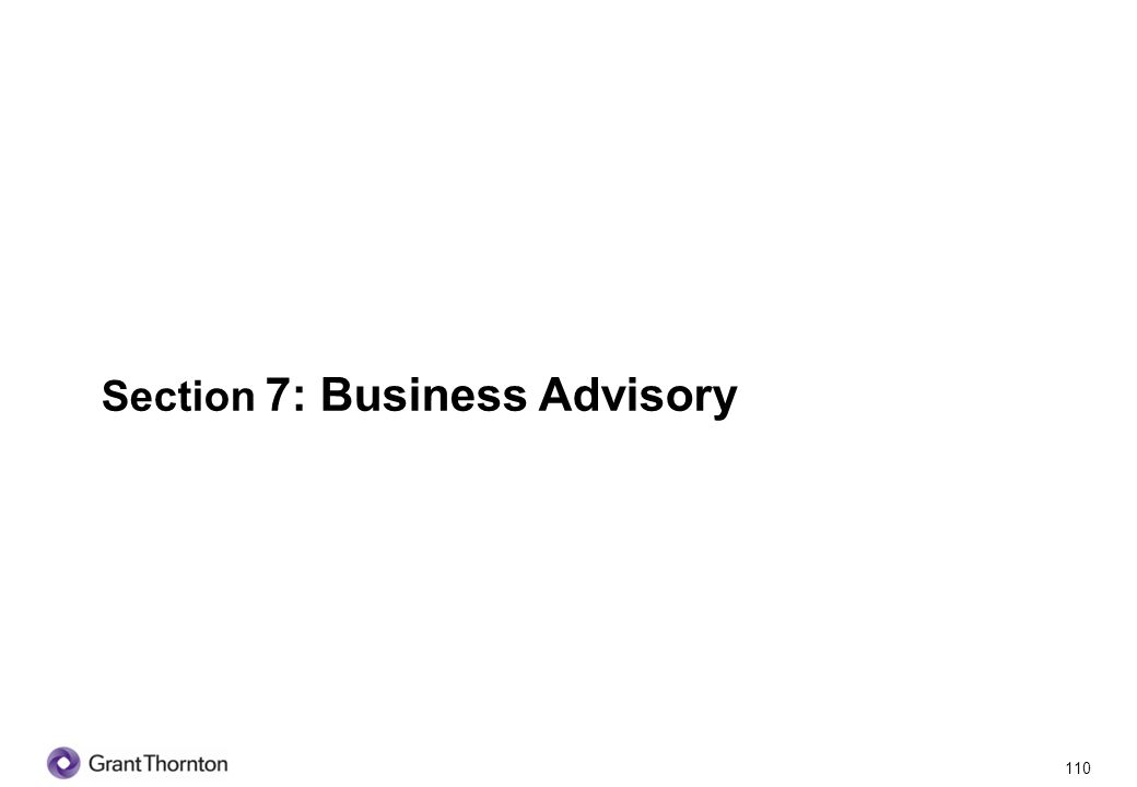 111 Section 7: Business Advisory Q1.Do you obtain professional advice for your business.