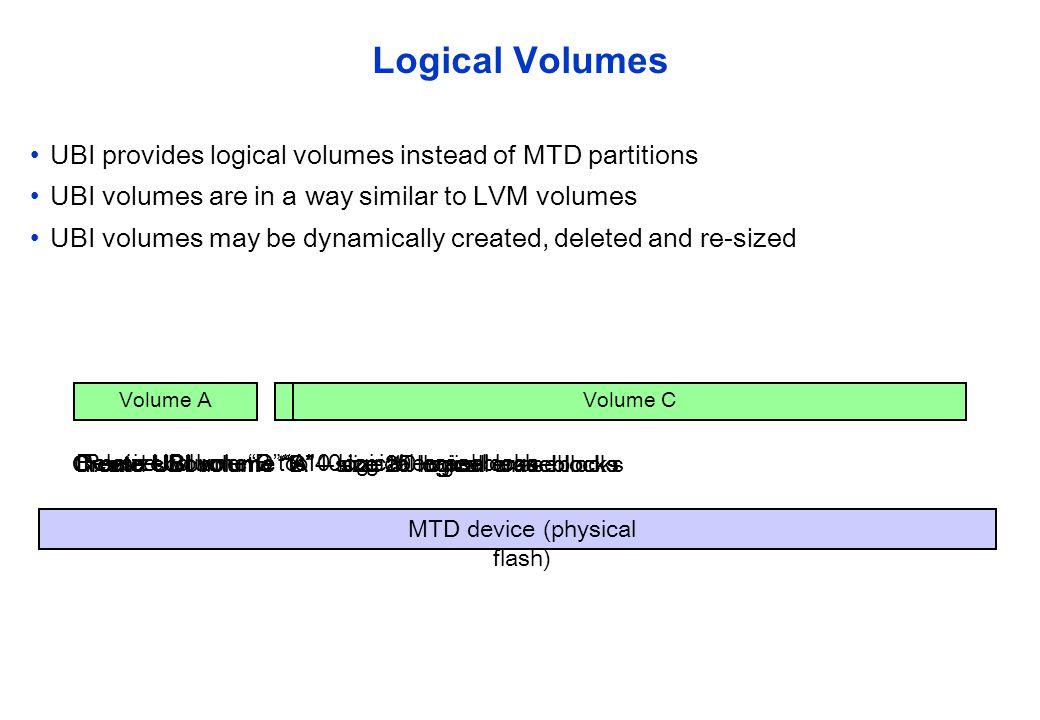 Create UBI volume C - size 20 logical eraseblocks Re-size volume B to 10 logical eraseblocks Create UBI volume A – size 10 logical eraseblocksCreate U