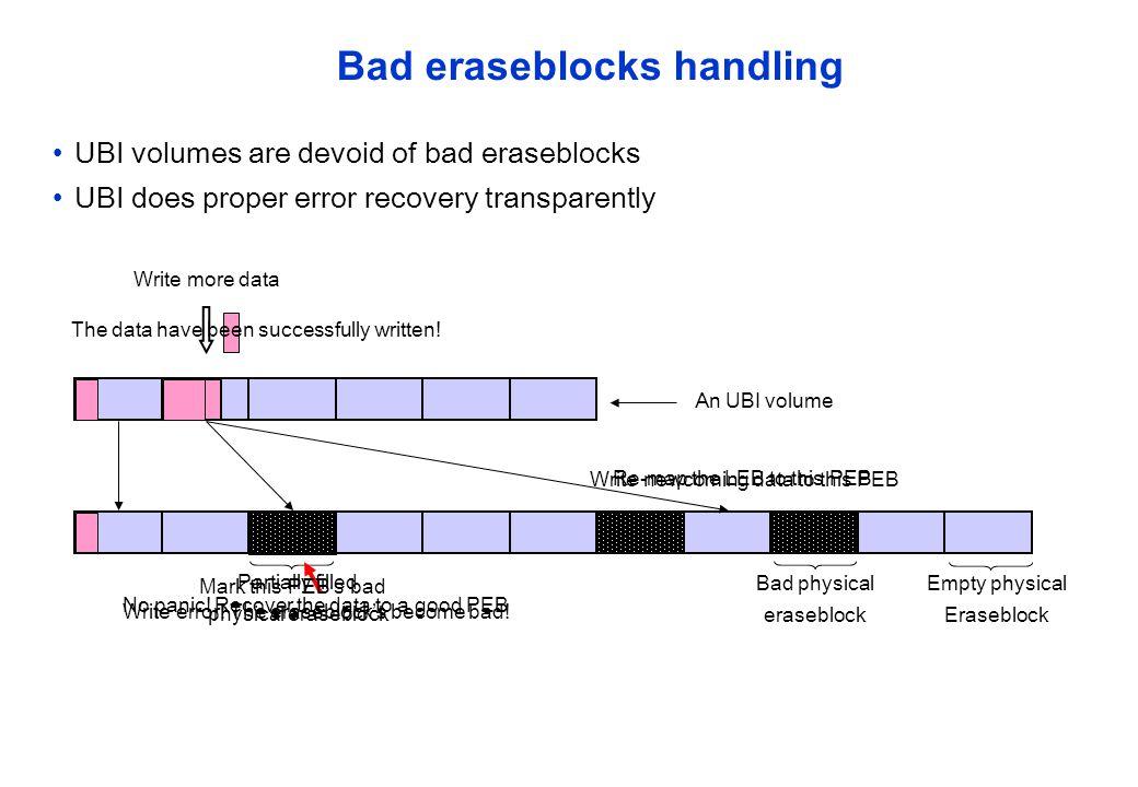 Bad eraseblocks handling UBI volumes are devoid of bad eraseblocks UBI does proper error recovery transparently Bad physical eraseblock Empty physical