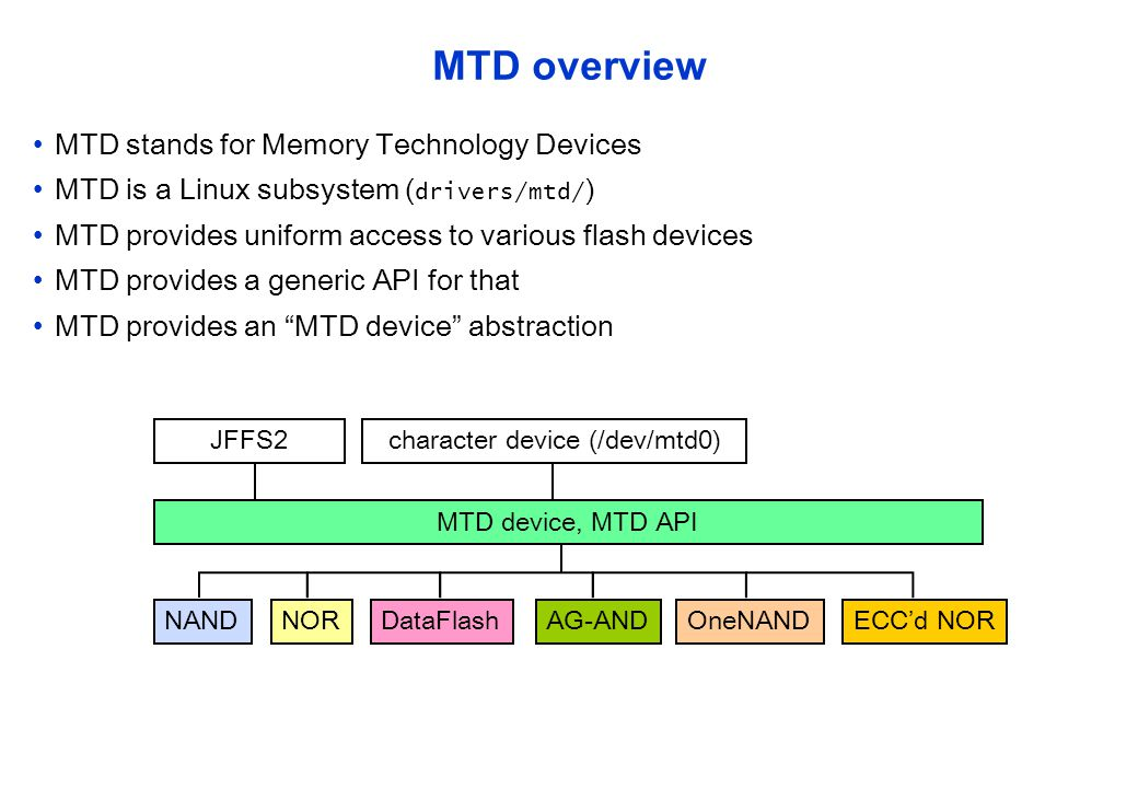 MTD device consists of eraseblocks Eraseblock size varies, typically 32-128 Kilobytes Eraseblocks may be written to MTD device … Eraseblock, 128K MTD device write, but not re-written re-write X Whole eraseblock has to be erased first write Then it is possible to write there