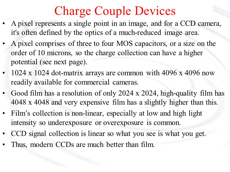 Charge Couple Devices A CCD array imager.