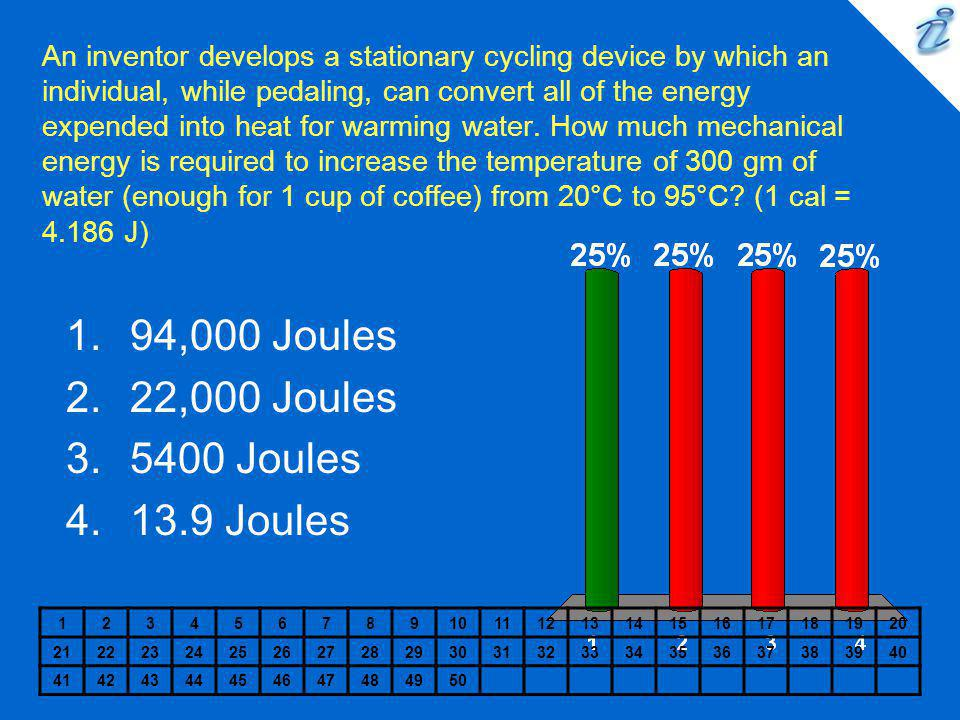 An inventor develops a stationary cycling device by which an individual, while pedaling, can convert all of the energy expended into heat for warming water.