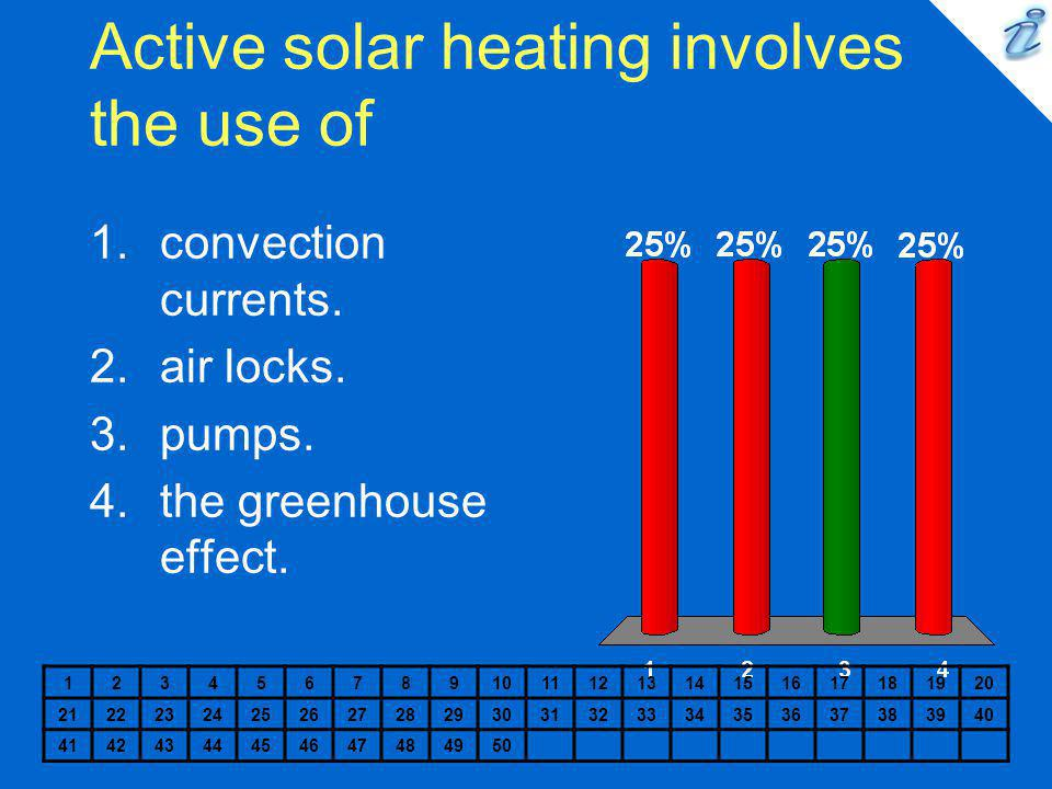 Active solar heating involves the use of 1234567891011121314151617181920 2122232425262728293031323334353637383940 41424344454647484950 1.convection cu