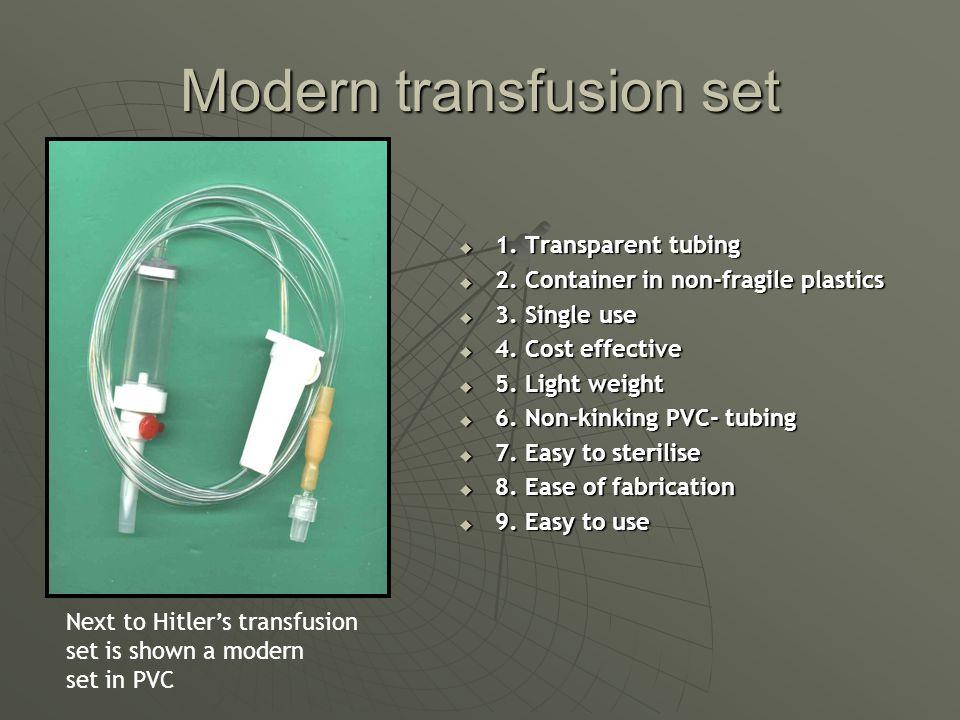 Modern transfusion set 1. Transparent tubing 1. Transparent tubing 2.