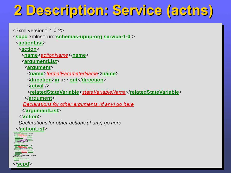 2 Description: Service (actns) actionName formalParameterName in xor out stateVariableName Declarations for other arguments (if any) go here Declarati