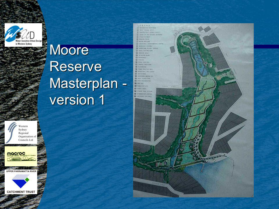 Moore Reserve n 14.2 ha n Rubbish tip until late 1970s n 2 square kilometre catchment n Ecological restoration strategy –off line wetland –leachate treatment –bushland restoration –recreation –investigated landfill n Consultation