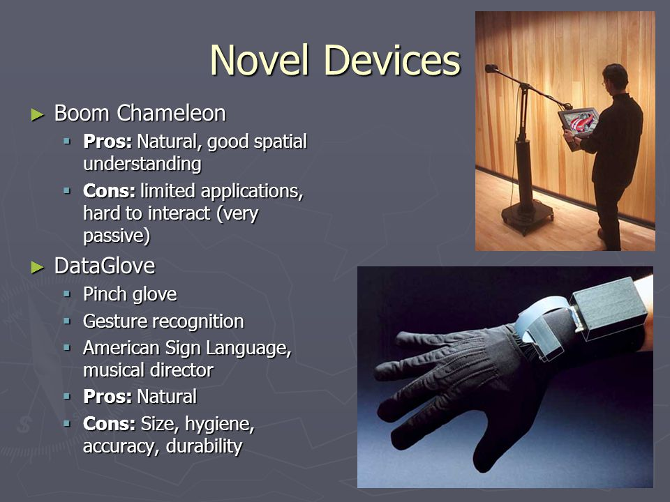 Novel Devices Boom Chameleon Boom Chameleon Pros: Natural, good spatial understanding Pros: Natural, good spatial understanding Cons: limited applicat