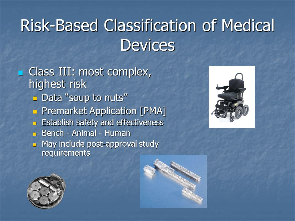 Risk-Based Classification of Medical Devices Class III: most complex, highest risk Class III: most complex, highest risk Data soup to nuts Data soup to nuts Premarket Application [PMA] Premarket Application [PMA] Establish safety and effectiveness Establish safety and effectiveness Bench - Animal - Human Bench - Animal - Human May include post-approval study requirements May include post-approval study requirements