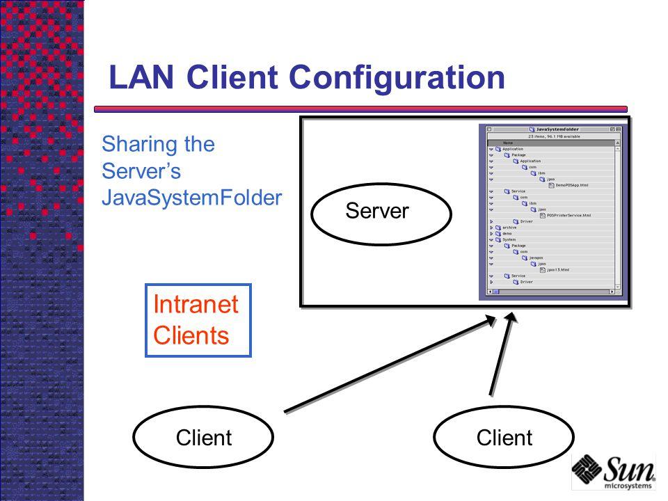 LAN Client Configuration Client Server Client Sharing the Servers JavaSystemFolder Intranet Clients