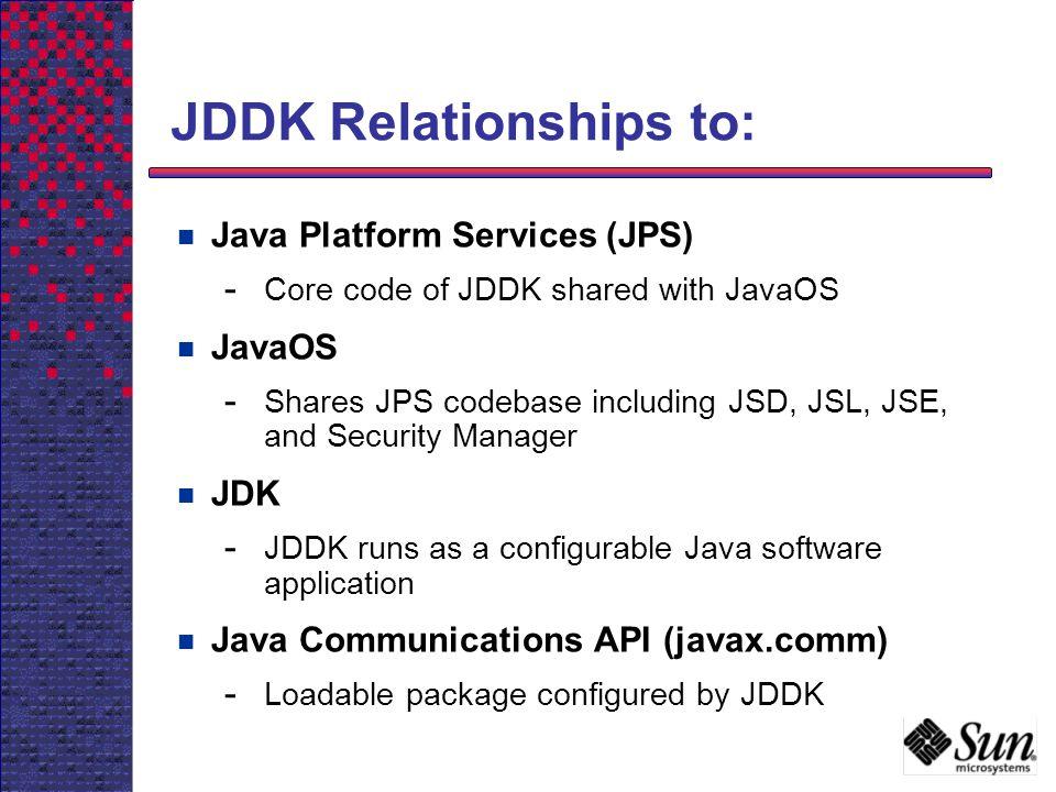 JDDK Relationships to: Java Platform Services (JPS) - Core code of JDDK shared with JavaOS JavaOS - Shares JPS codebase including JSD, JSL, JSE, and S