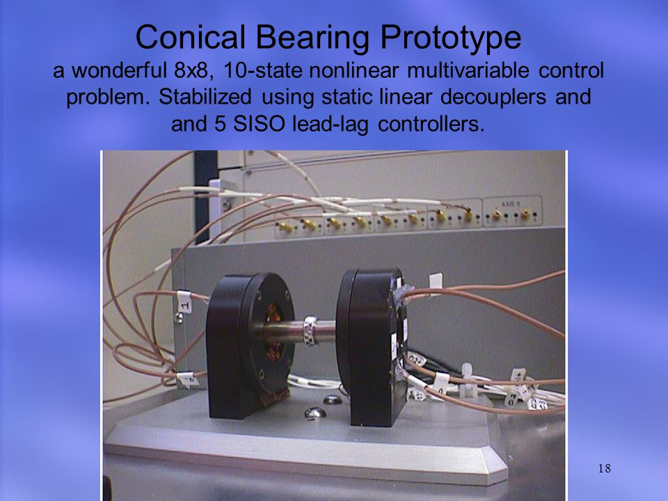 XIV Brazilian Automatic Control Conference 18 Conical Bearing Prototype a wonderful 8x8, 10-state nonlinear multivariable control problem.