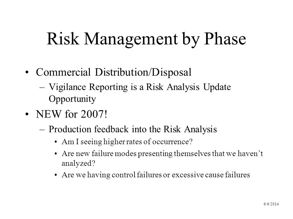 6/6/2014 Risk Management by Phase Commercial Distribution/Disposal –Vigilance Reporting is a Risk Analysis Update Opportunity NEW for 2007.