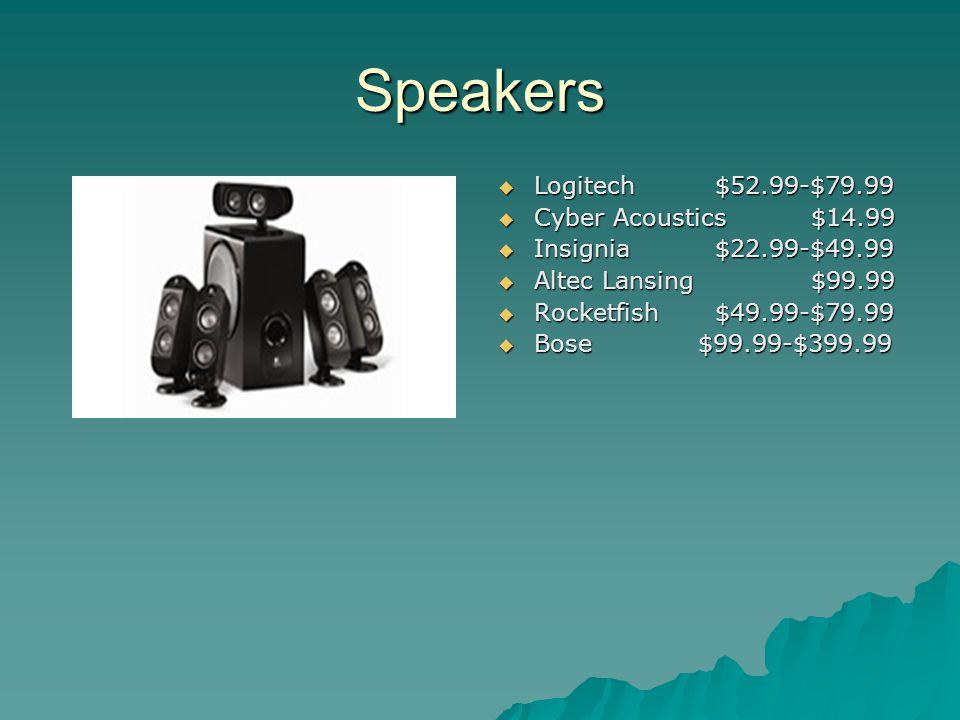 Speakers Logitech $52.99-$79.99 Logitech $52.99-$79.99 Cyber Acoustics $14.99 Cyber Acoustics $14.99 Insignia $22.99-$49.99 Insignia $22.99-$49.99 Alt