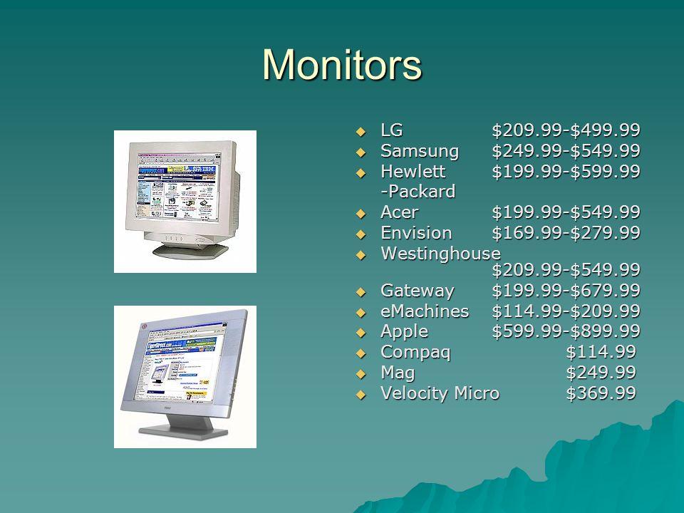 Monitors LG$209.99-$499.99 LG$209.99-$499.99 Samsung$249.99-$549.99 Samsung$249.99-$549.99 Hewlett$199.99-$599.99 Hewlett$199.99-$599.99-Packard Acer$