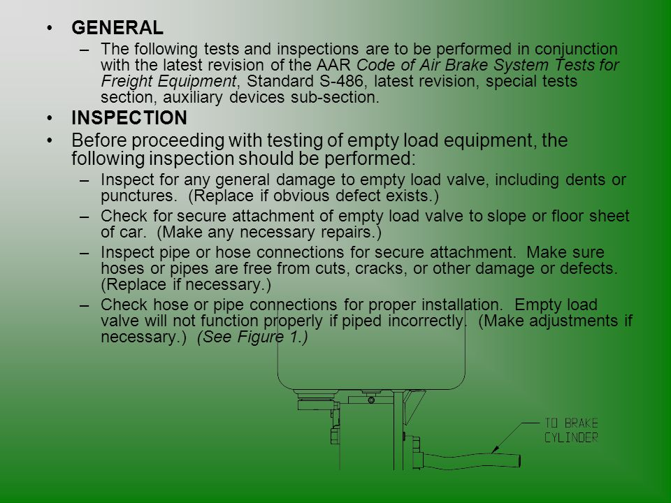 GENERAL –The following tests and inspections are to be performed in conjunction with the latest revision of the AAR Code of Air Brake System Tests for