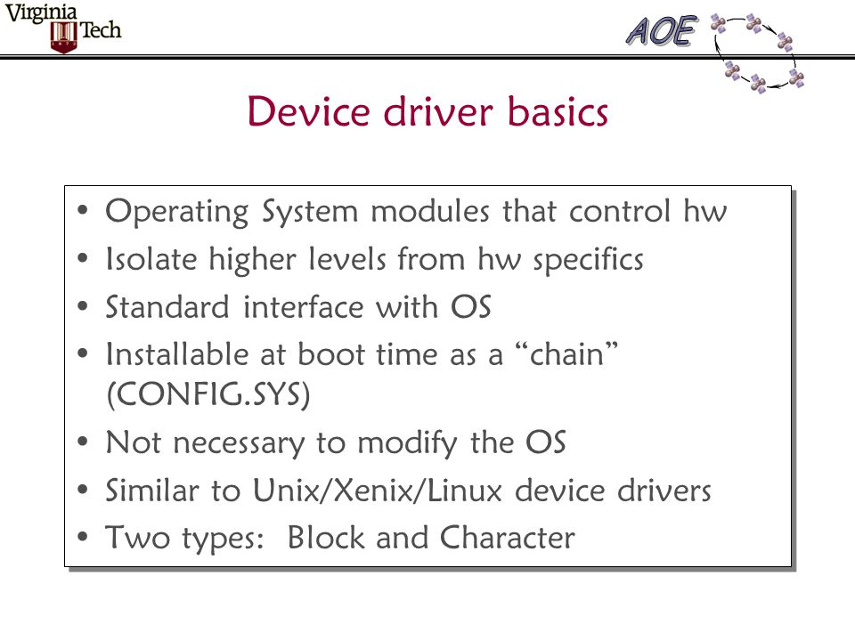 General Structure Device Header Driver Data Storage Strategy Routine Interrupt Entry Command Handlers Interrupt Service Routine Initialization Code and Driver Data Buffers