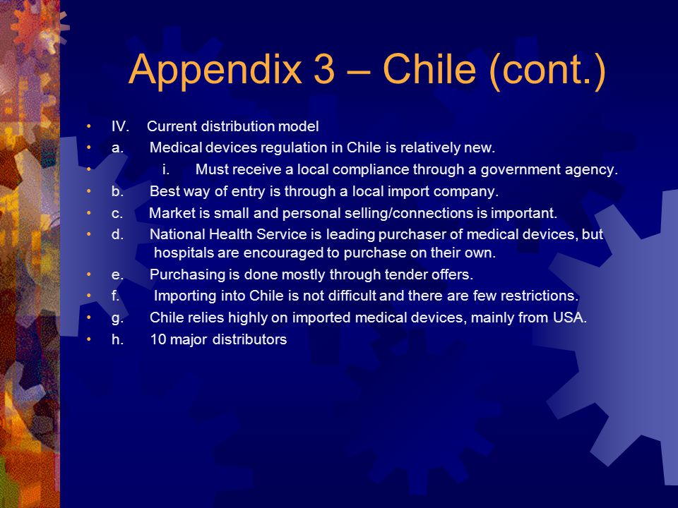Appendix 3 – Chile (cont.) IV. Current distribution model a.