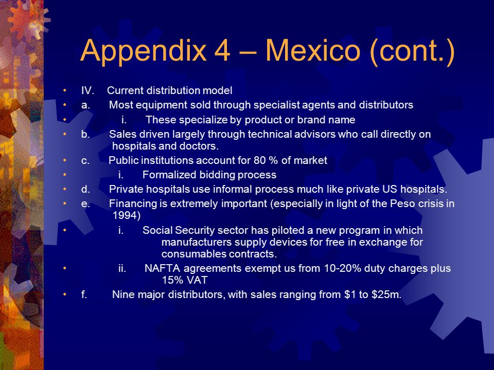 Appendix 4 – Mexico (cont.) IV. Current distribution model a.
