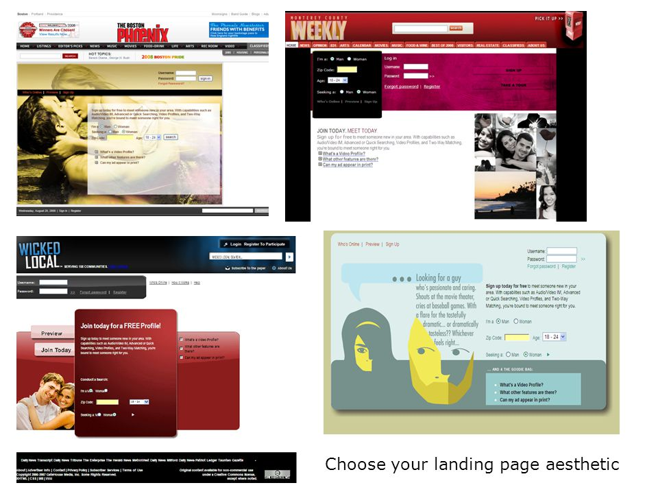 Choose your landing page aesthetic