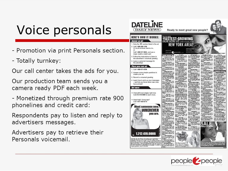 Voice personals - Promotion via print Personals section.