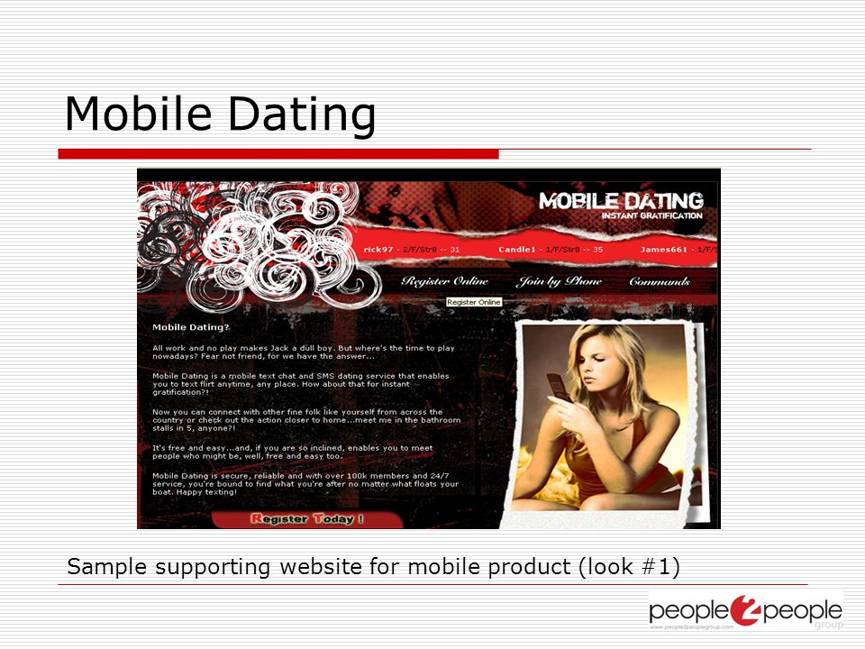 Mobile Dating Sample supporting website for mobile product (look #1)