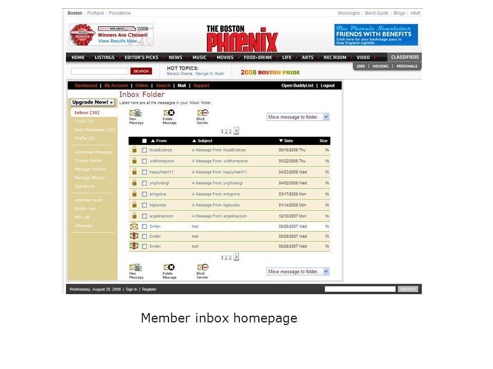 Member inbox homepage