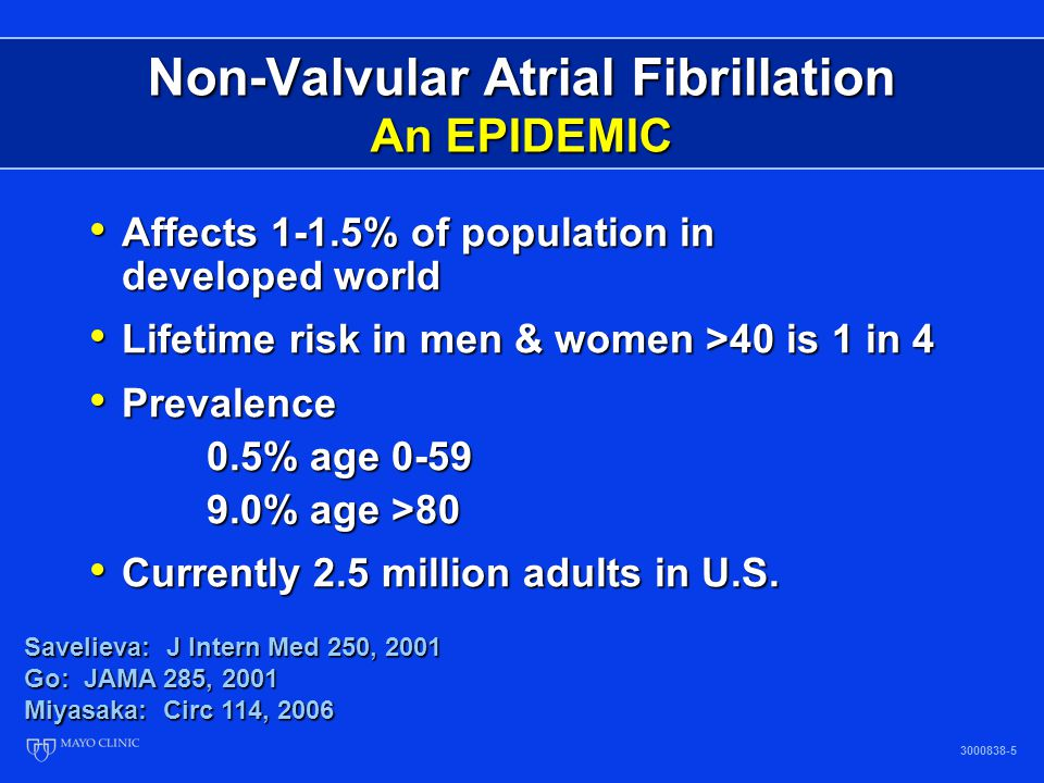 Non-Valvular Atrial Fibrillation An EPIDEMIC 3000838-6 Mayo Clinic data (assuming a continued increase in AF incidence) Mayo Clinic data (assuming further increase in AF incidence) ATRIA study data (50% >80 yo) Patients with atrial fibrillation (millions) Year 2.08 2.26 2.44 2.66 2.94 3.33 3.8 4.34 4.78 5.16 5.42 5.61 5.1 5.6 6.1 6.8 7.5 8.4 9.4 10.3 11.1 11.7 12.1 5.1 5.9 6.7 7.7 8.9 10.2 11.7 13.1 14.3 15.2 15.9