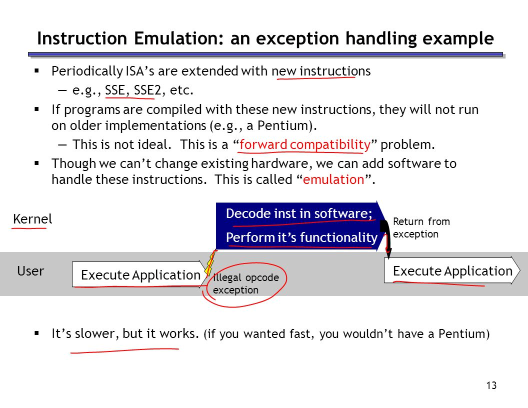 13 Instruction Emulation: an exception handling example Periodically ISAs are extended with new instructions e.g., SSE, SSE2, etc.