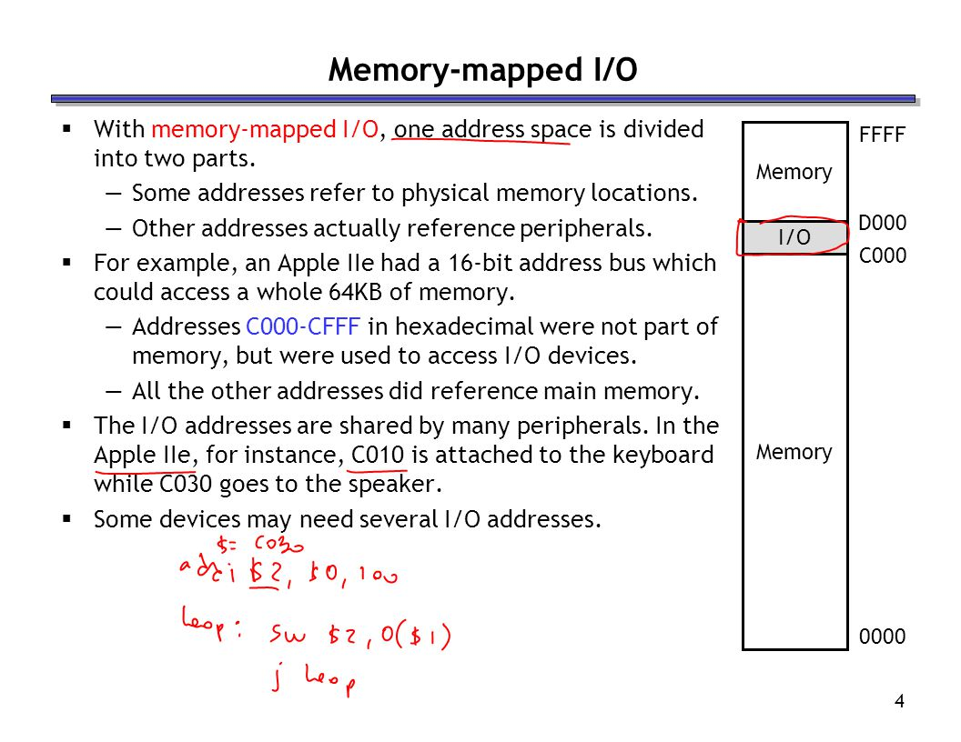 4 Memory-mapped I/O With memory-mapped I/O, one address space is divided into two parts.