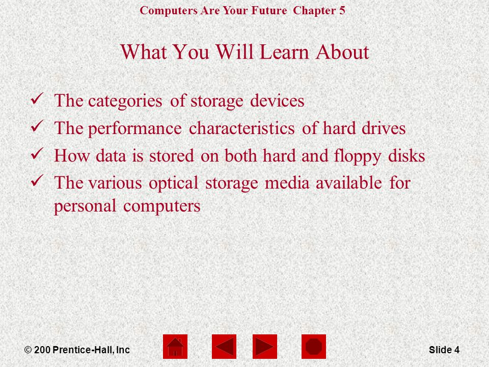 Computers Are Your Future Chapter 5 © 200 Prentice-Hall, IncSlide 4 What You Will Learn About The categories of storage devices The performance characteristics of hard drives How data is stored on both hard and floppy disks The various optical storage media available for personal computers