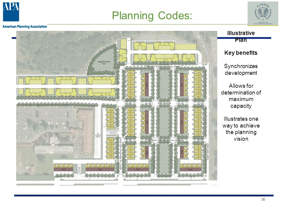 Planning Codes: 30 Illustrative Plan Key benefits Synchronizes development Allows for determination of maximum capacity Illustrates one way to achieve the planning vision