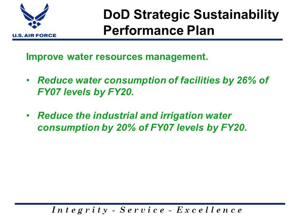 I n t e g r i t y - S e r v i c e - E x c e l l e n c e DoD Strategic Sustainability Performance Plan Improve water resources management.