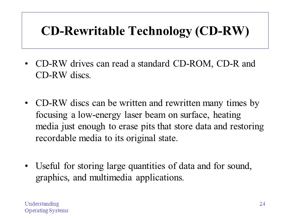 Understanding Operating Systems 24 CD-Rewritable Technology (CD-RW) CD-RW drives can read a standard CD-ROM, CD-R and CD-RW discs. CD-RW discs can be