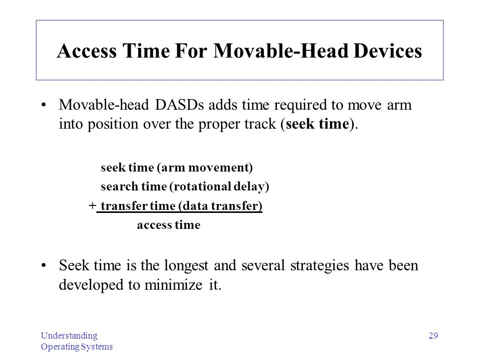 Understanding Operating Systems 29 Access Time For Movable-Head Devices Movable-head DASDs adds time required to move arm into position over the prope