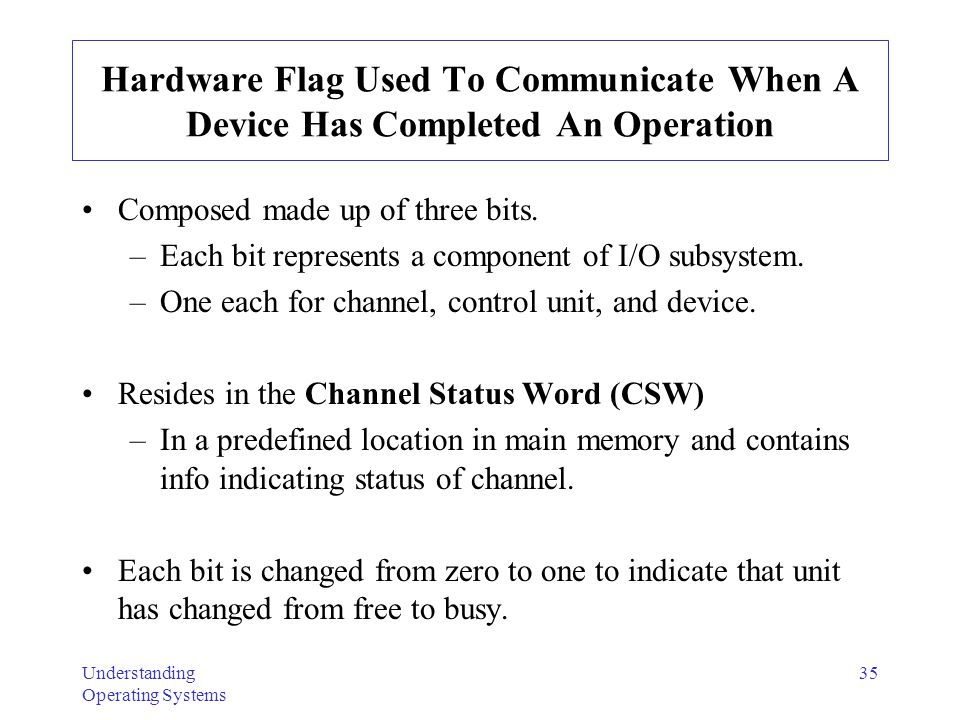 Understanding Operating Systems 35 Hardware Flag Used To Communicate When A Device Has Completed An Operation Composed made up of three bits. –Each bi