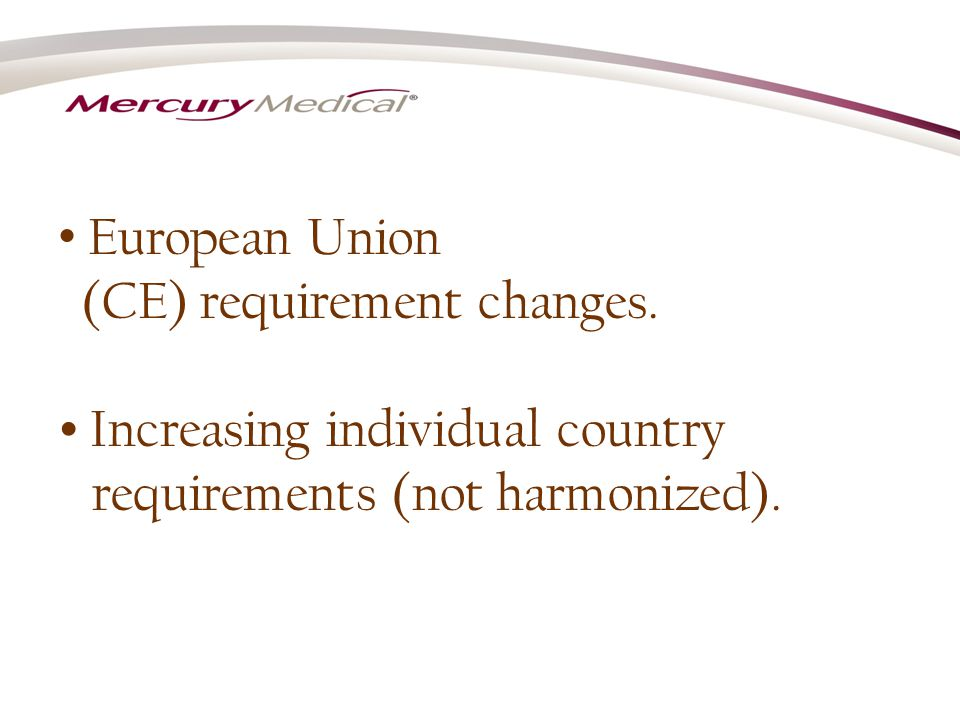European Union (CE) requirement changes.