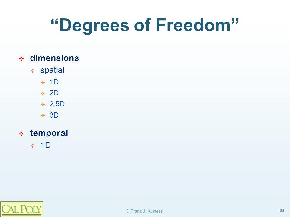 66 © Franz J. Kurfess Degrees of Freedom dimensions spatial 1D 2D 2.5D 3D temporal 1D