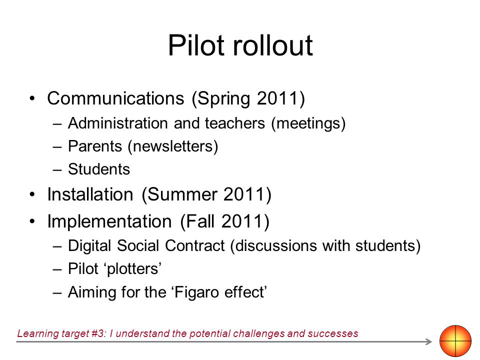 Pilot rollout Communications (Spring 2011) –Administration and teachers (meetings) –Parents (newsletters) –Students Installation (Summer 2011) Impleme
