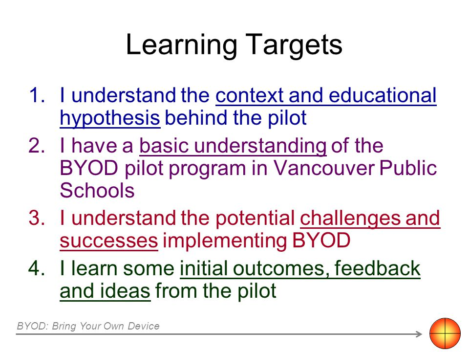 Learning Targets 1.I understand the context and educational hypothesis behind the pilot 2.I have a basic understanding of the BYOD pilot program in Va