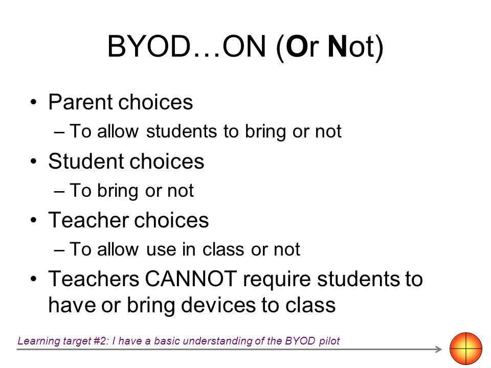 BYOD…ON (Or Not) Parent choices –To allow students to bring or not Student choices –To bring or not Teacher choices –To allow use in class or not Teac
