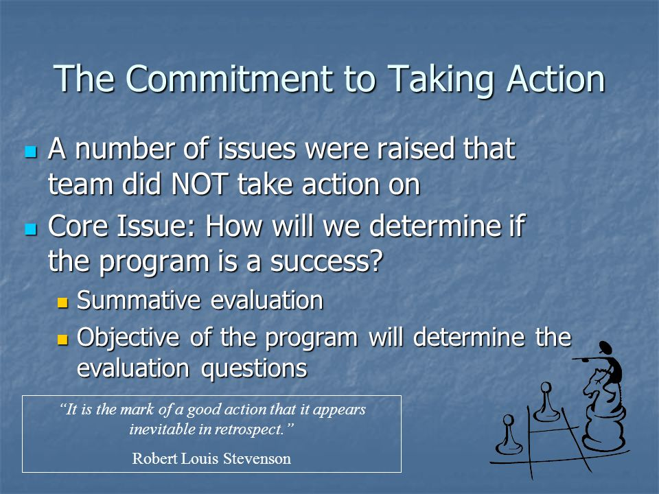 The Commitment to Taking Action A number of issues were raised that team did NOT take action on A number of issues were raised that team did NOT take