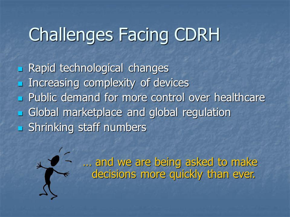 Challenges Facing CDRH Rapid technological changes Rapid technological changes Increasing complexity of devices Increasing complexity of devices Publi