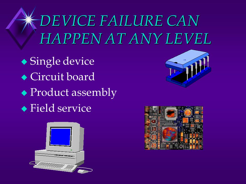 DEVICE FAILURE CAN HAPPEN AT ANY LEVEL u Single device u Circuit board u Product assembly u Field service