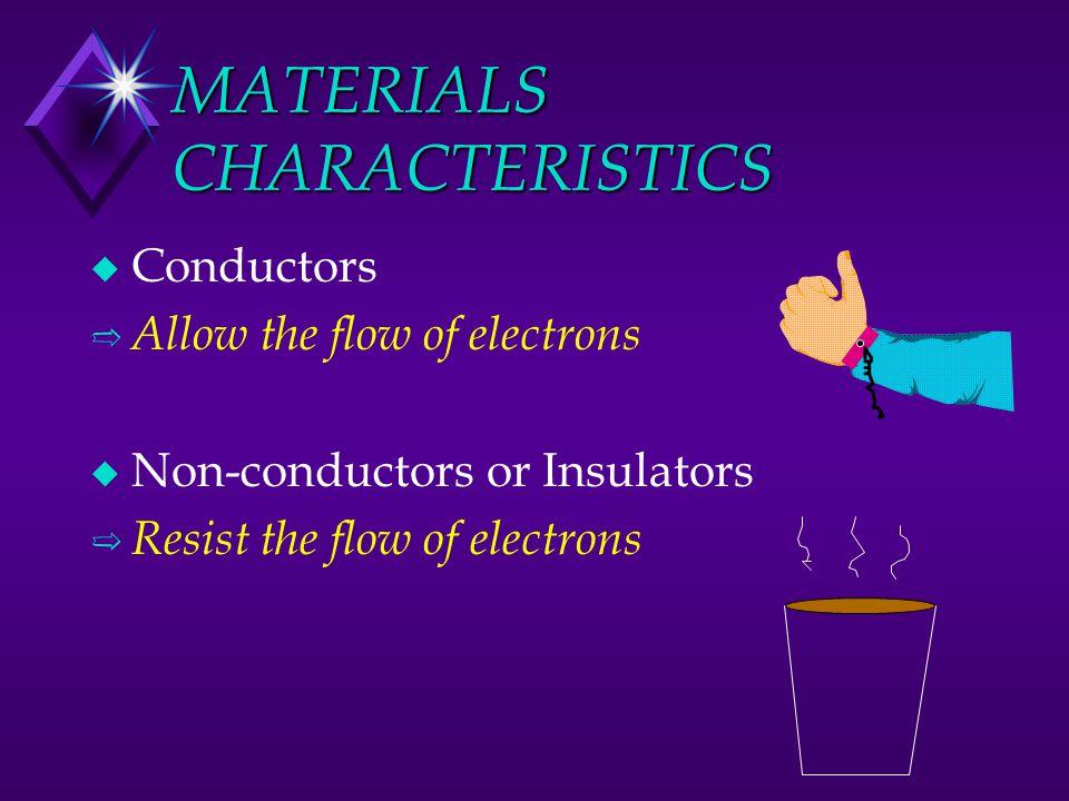 MATERIALS CHARACTERISTICS u Conductors ñ Allow the flow of electrons u Non-conductors or Insulators ï Resist the flow of electrons